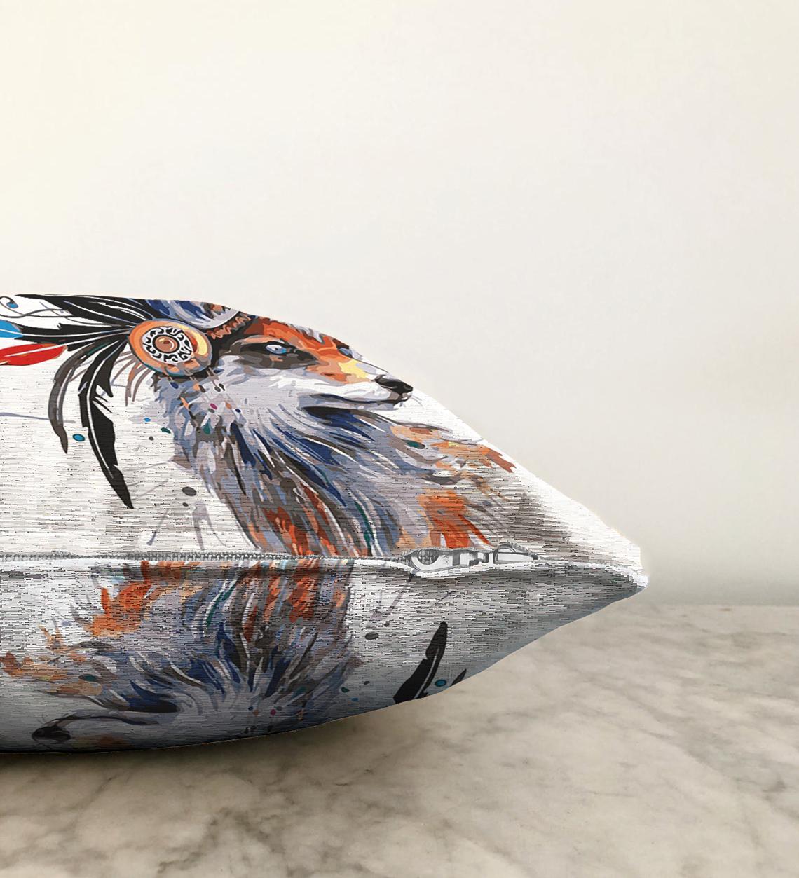 Çift Taraflı Beyaz Zeminde Suluboya Kurt Desenli Dekoratif Şönil Yastık Kırlent Kılıfı - 55 x 55 cm Realhomes