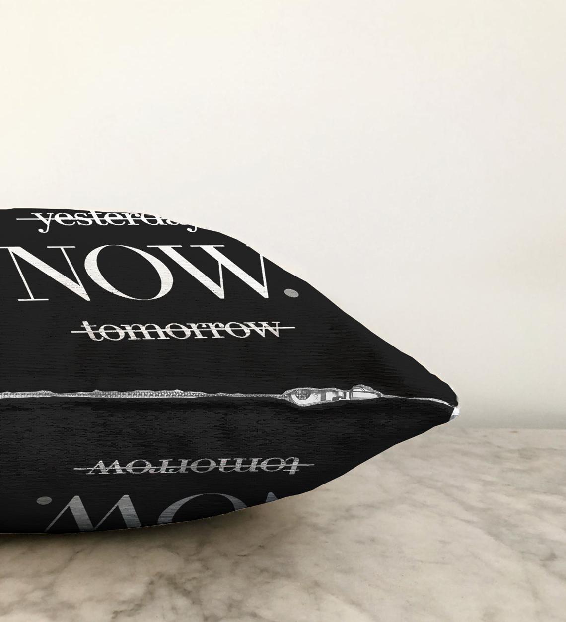 Çift Taraflı Siyah Zeminde NOW Yazılı Modern Şönil Yastık Kırlent Kılıfı - 55 x 55 cm Realhomes