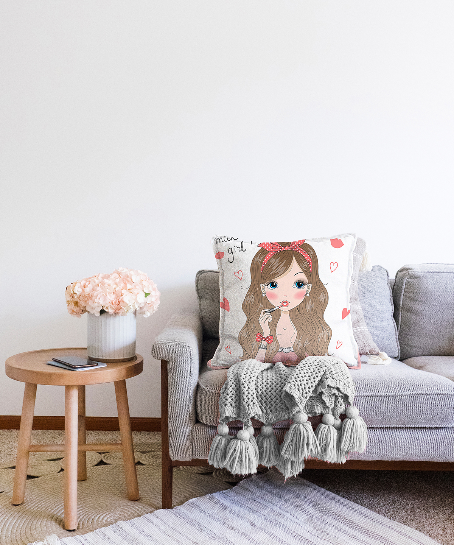 Çift Taraflı Fashion Girl Dijital Baskılı Modern Şönil Yastık Kırlent Kılıfı - 55 x 55 cm Realhomes