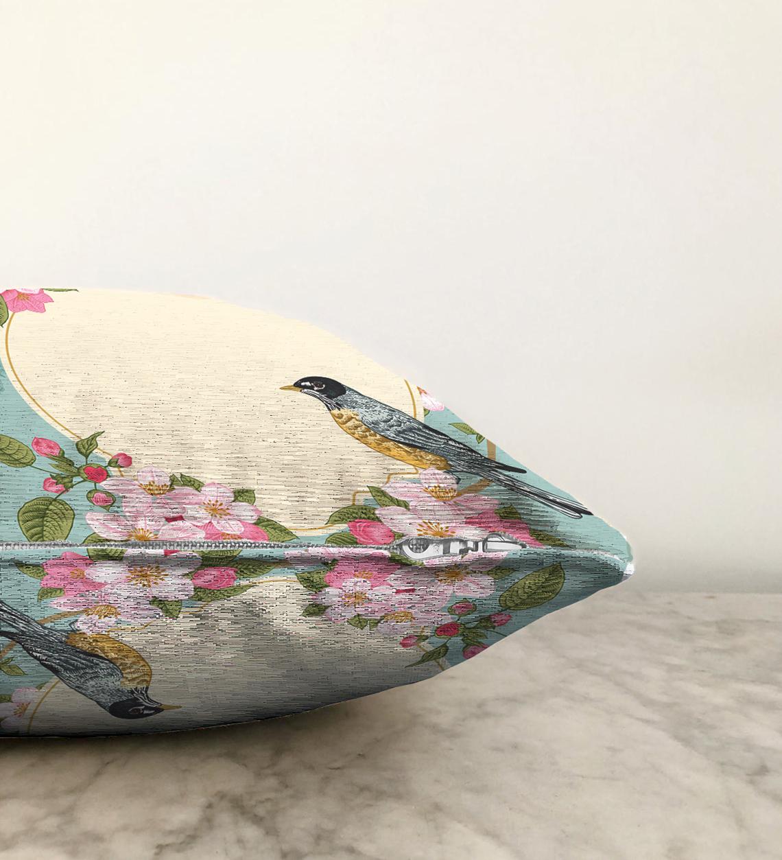 Çift Taraflı Modern Kuş Desenli Dijital Baskılı Dekoratif Şönil Yastık Kırlent Kılıfı - 55 x 55 cm Realhomes