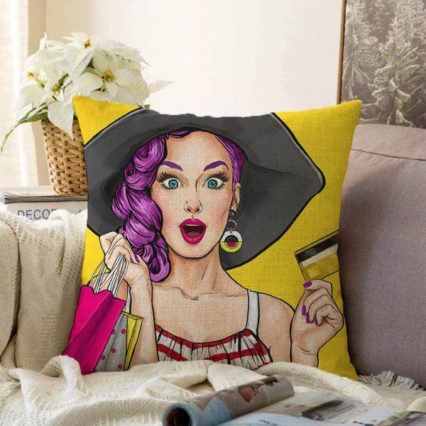 Çift Taraflı Pop Art Resimli Dijital Baskılı Dekoratif Şönil Yastık Kırlent Kılıfı - 55 x 55 cm Realhomes