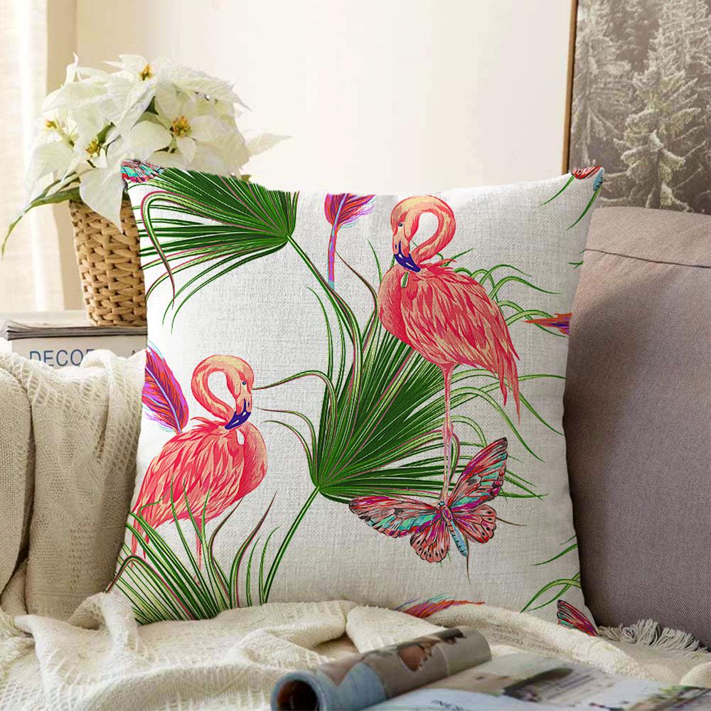 Çift Taraflı Flamingo Desen Dijital Baskılı Modern Şönil Yastık Kırlent Kılıfı - 55 x 55 cm Realhomes
