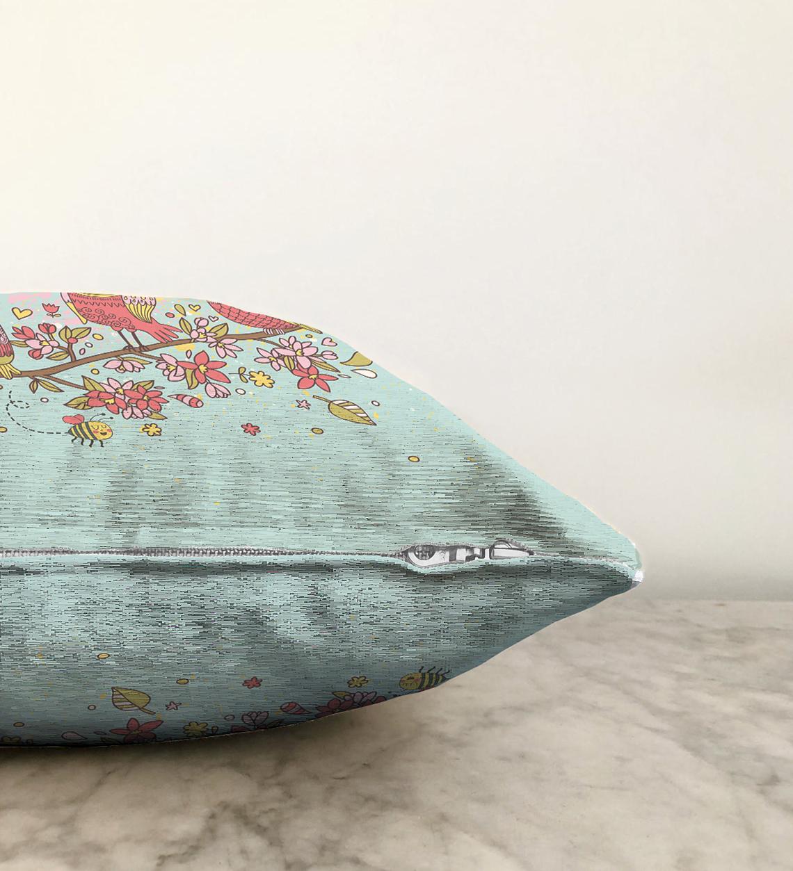 Çift Taraflı Baykuş Desenli Dijital Baskılı Dekoratif Şönil Yastık Kırlent Kılıfı - 55 x 55 cm Realhomes
