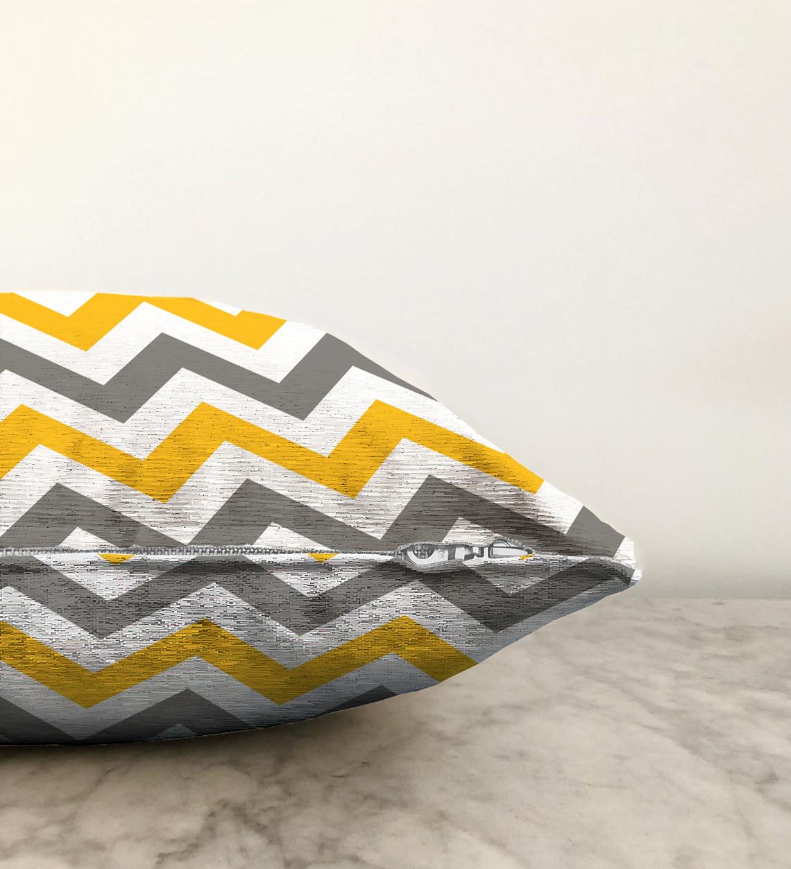 Çift Taraflı Zigzag Desen Dijital Baskılı Dekoratif Şönil Yastık Kırlent Kılıfı - 55 x 55 cm Realhomes