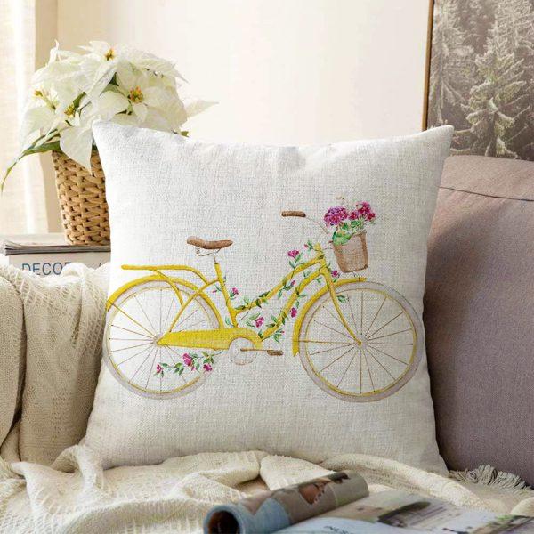 Çift Taraflı Bisiklet Desenli Dijital Baskılı Dekoratif Şönil Yastık Kırlent Kılıfı - 55 x 55 cm Realhomes