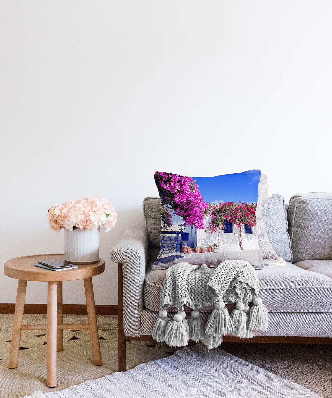 Çift Taraflı Mor Sarmaşık Desenli Dijital Baskılı Dekoratif Şönil Yastık Kırlent Kılıfı - 55 x 55 cm Realhomes