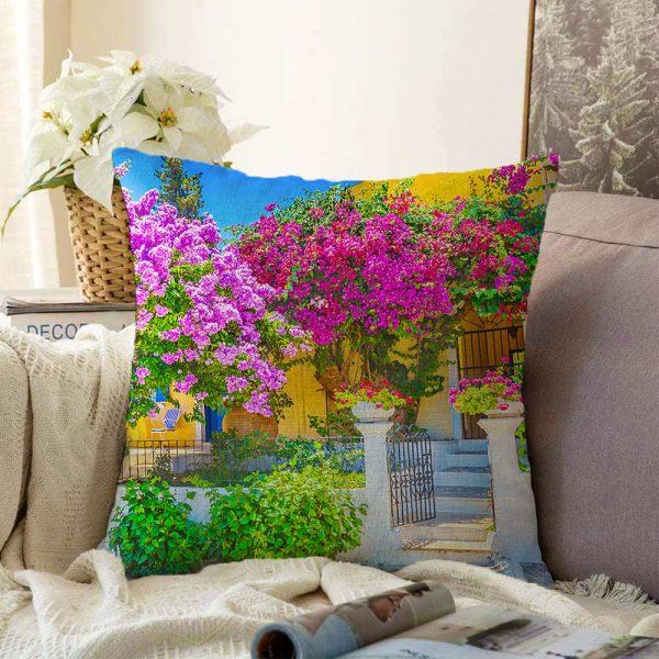Çift Taraflı Çiçek Temalı Dijital Baskılı Dekoratif Şönil Yastık Kırlent Kılıfı - 55 x 55 cm Realhomes