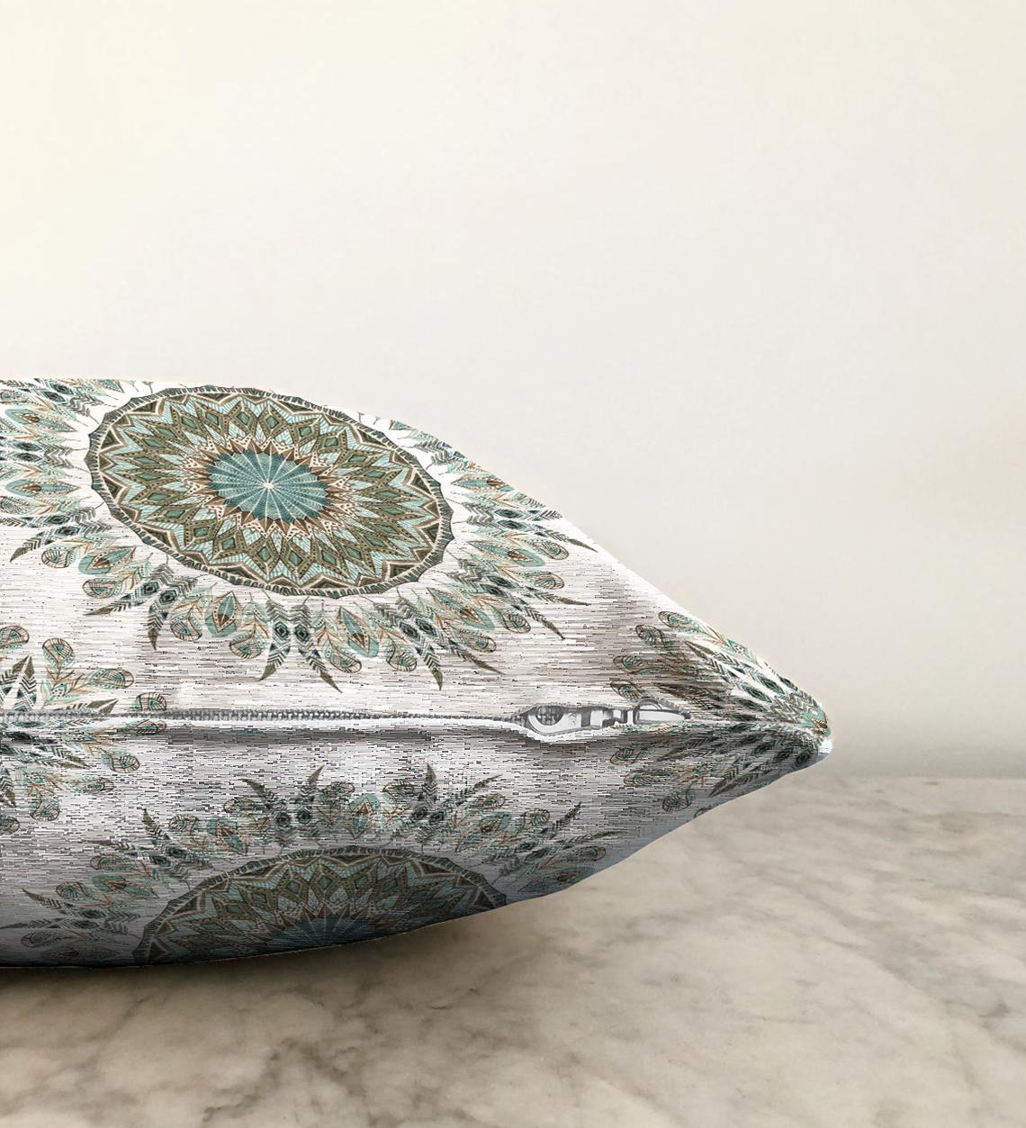 Çift Taraflı Modern Damask Desenli Dijital Baskılı Dekoratif Şönil Yastık Kırlent Kılıfı - 55 x 55 cm Realhomes