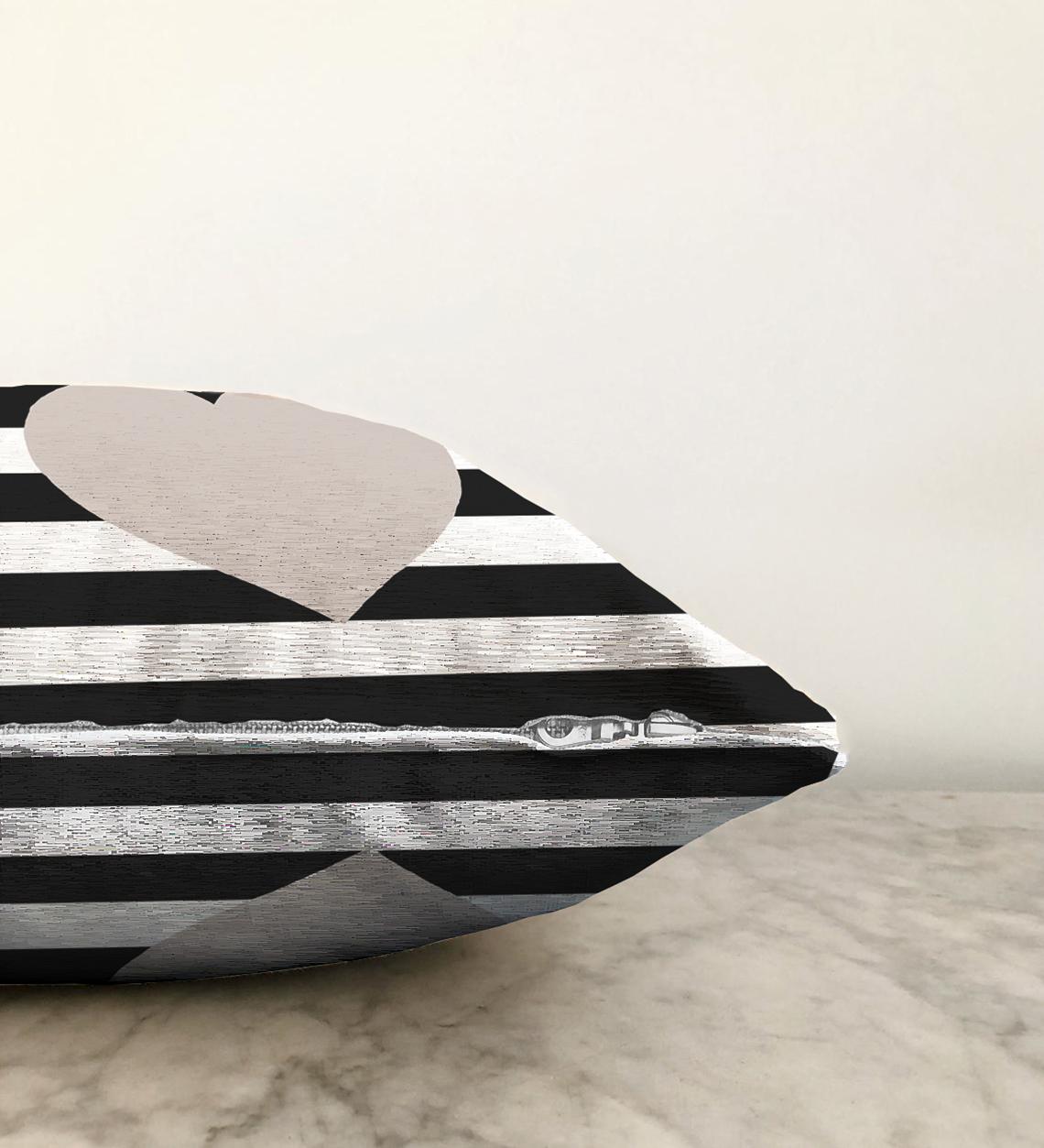 Çift Taraflı Modern Kalp Desenli Dijital Baskılı Şönil Yastık Kırlent Kılıfı - 55 x 55 cm Realhomes