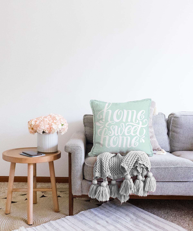 Çift Taraflı Home Sweet Home Dijital Baskılı Şönil Yastık Kırlent Kılıfı - 55 x 55 cm Realhomes