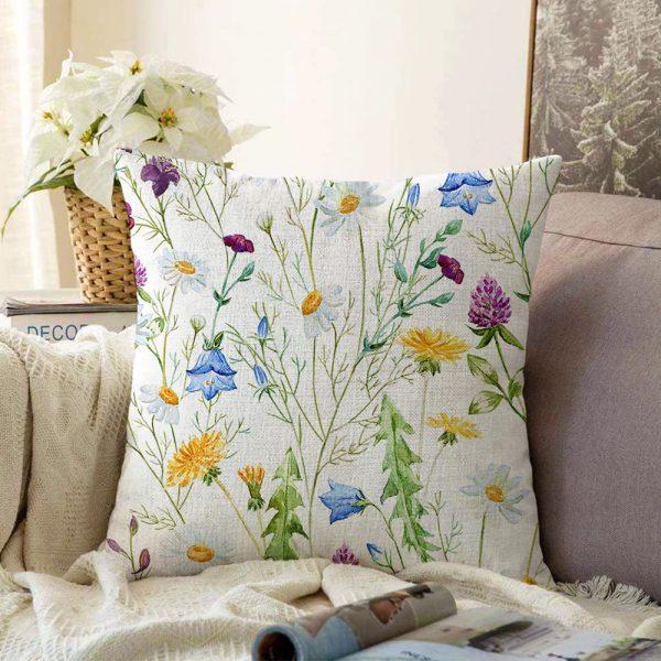 Çift Taraflı Çiçek Desenli Dijital Baskılı Şönil Yastık Kırlent Kılıfı - 55 x 55 cm Realhomes