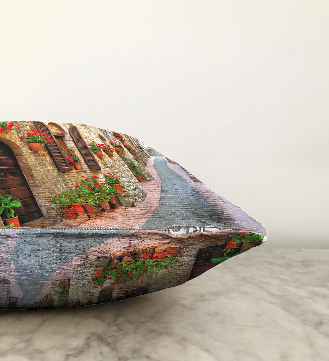 Çift Taraflı Manzara Temalı Dijital Baskılı Şönil Yastık Kırlent Kılıfı - 55 x 55 cm Realhomes