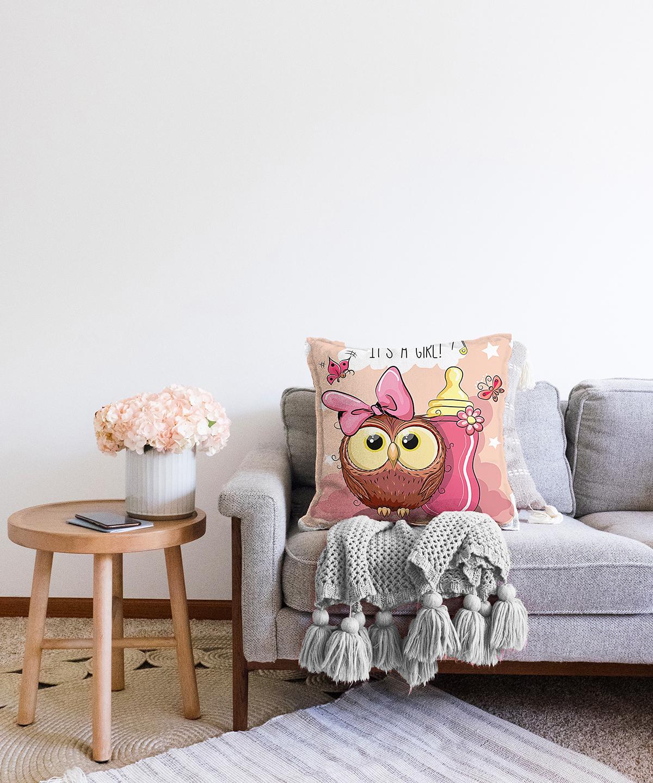 Çift Taraflı Sevimli Baykuş Dijital Baskılı Şönil Yastık Kırlent Kılıfı - 55 x 55 cm Realhomes