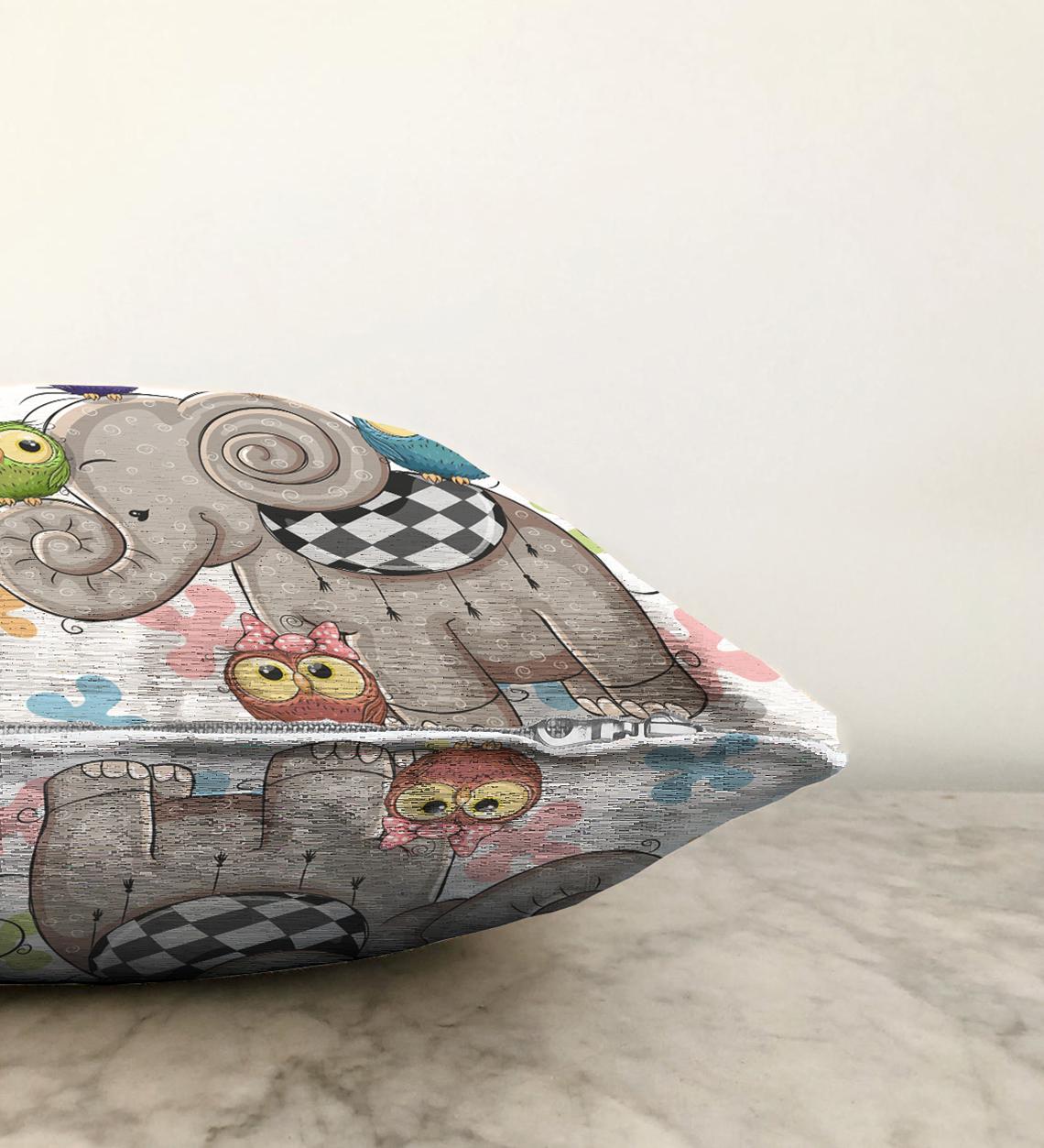 Çift Taraflı Modern Fil Desen Dijital Baskılı Şönil Yastık Kırlent Kılıfı - 55 x 55 cm Realhomes