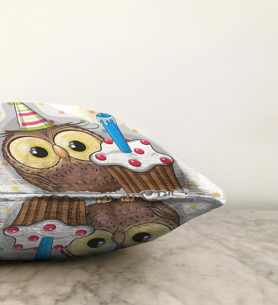 Çift Taraflı Modern Baykuş Desen Dijital Baskılı Şönil Yastık Kırlent Kılıfı - 55 x 55 cm Realhomes