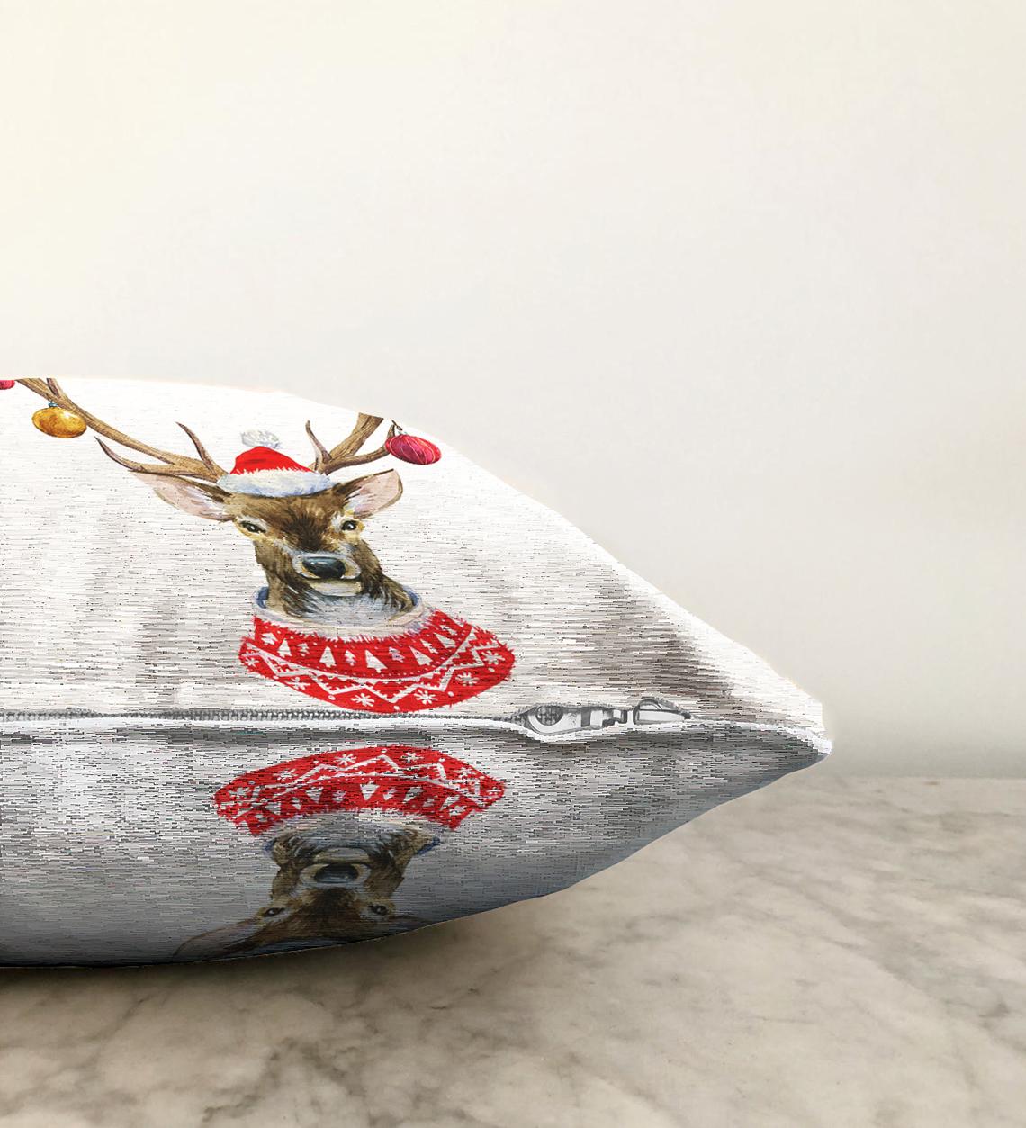 Çift Taraflı Modern Geyik Desen Dijital Baskılı Şönil Yastık Kırlent Kılıfı - 55 x 55 cm Realhomes