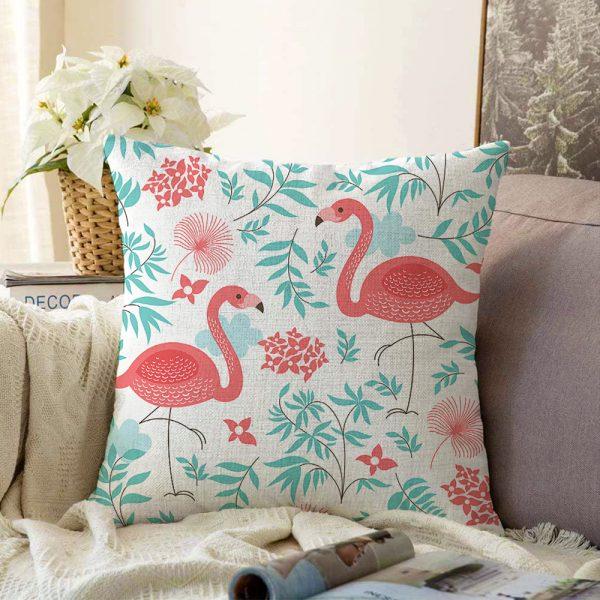 Çift Taraflı Modern Flamingo Desenli Dijital Baskılı Şönil Yastık Kırlent Kılıfı - 55 x 55 cm Realhomes