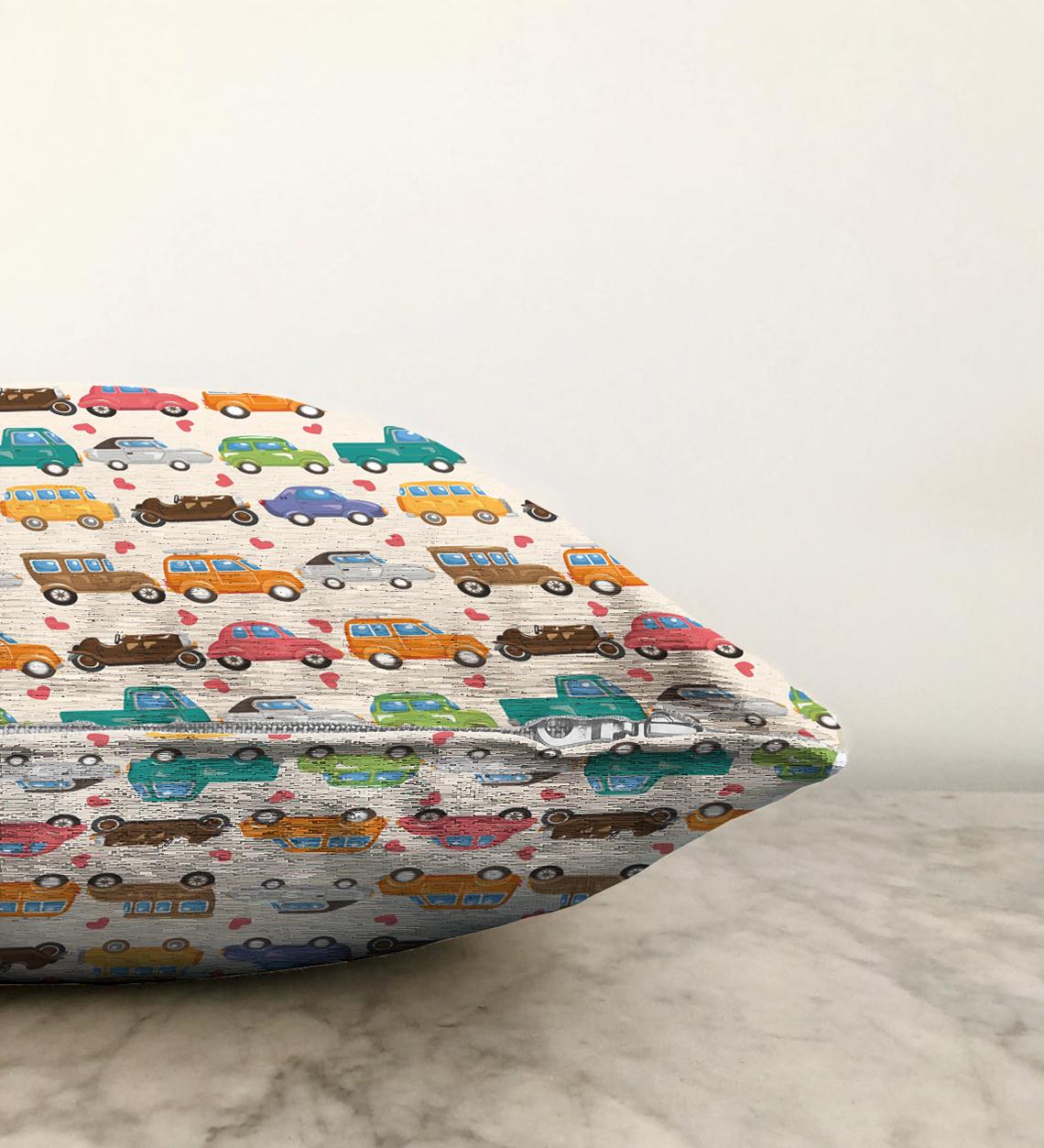 Çift Taraflı Modern Araba Desenli Dijital Baskılı Şönil Yastık Kırlent Kılıfı - 55 x 55 cm Realhomes