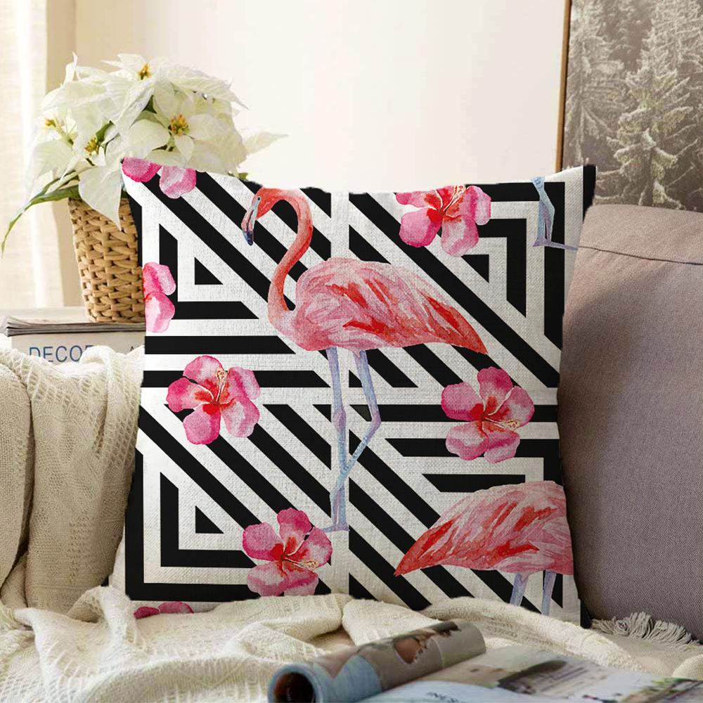 Çift Taraflı Flamingo Desenli Dijital Baskılı Şönil Yastık Kırlent Kılıfı - 55 x 55 cm Realhomes