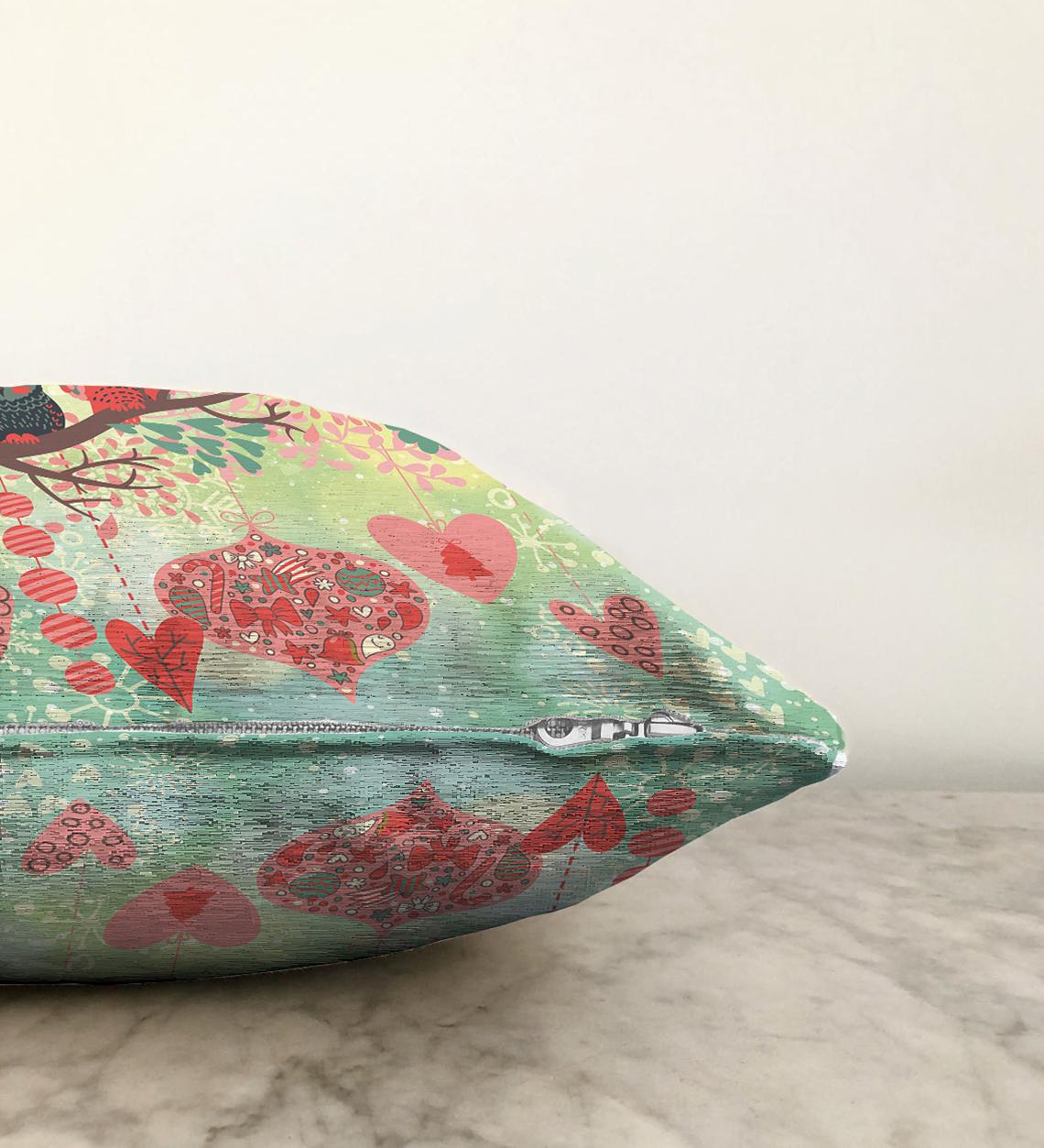 Çift Taraflı Baykuş Resimli Dijital Baskılı Dekoratif Şönil Yastık Kırlent Kılıfı - 55 x 55 cm Realhomes