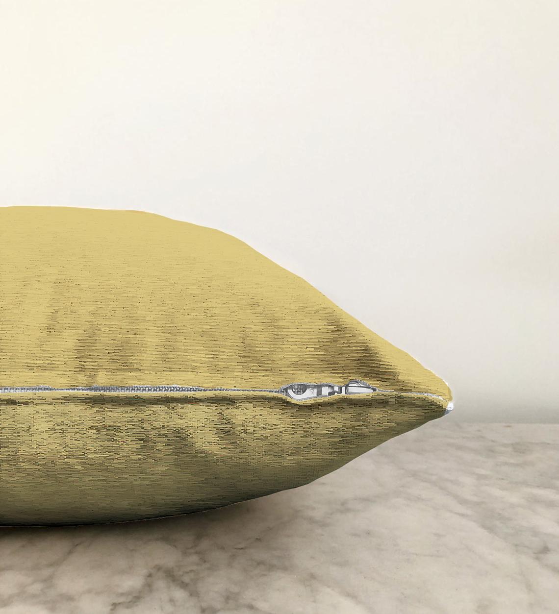 Çift Taraflı Hardal Renkli Dijital Baskılı Dekoratif Şönil Yastık Kırlent Kılıfı - 55 x 55 cm Realhomes