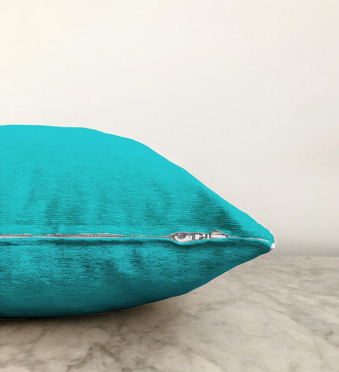 Çift Taraflı Turkuaz Renkli Dijital Baskılı Dekoratif Şönil Yastık Kırlent Kılıfı - 55 x 55 cm Realhomes