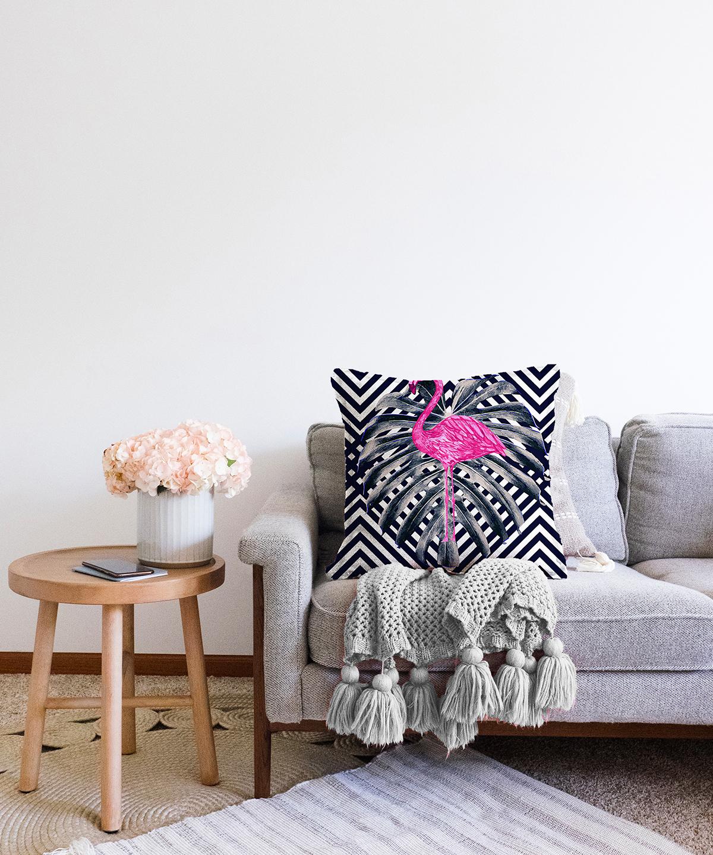 Çift Taraflı Lacivert Zeminli Flamingo Desenli Dijital Baskılı Şönil Kırlent Kılıfı - 55 x 55 cm Realhomes