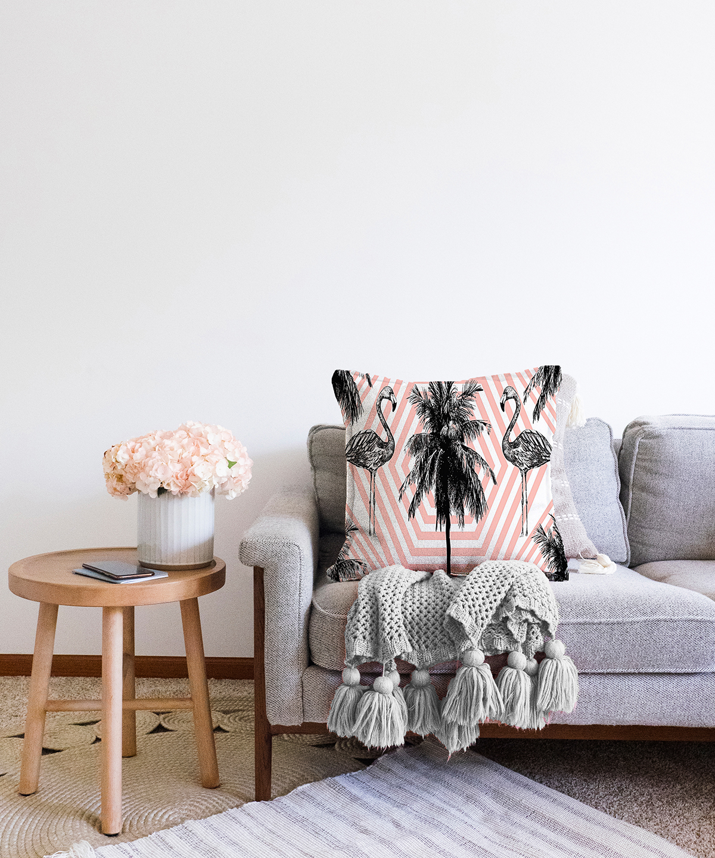 Çift Taraflı Flamingo Desenli Dijital Baskılı Dekoratif Şönil Yastık Kırlent Kılıfı - 55 x 55 cm Realhomes