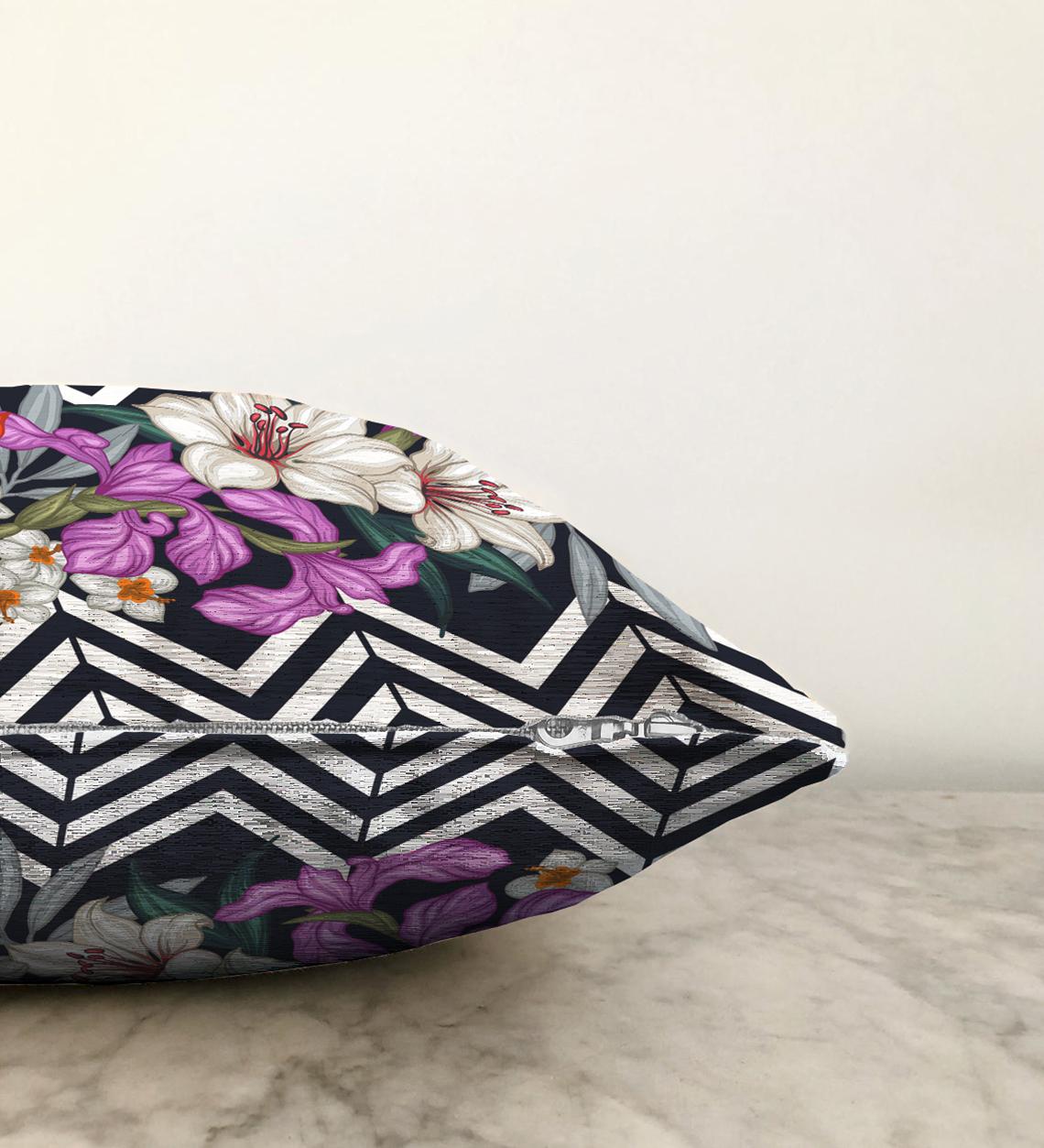 Çift Taraflı Çiçek Desen Dijital Baskılı Dekoratif Şönil Yastık Kırlent Kılıfı - 55 x 55 cm Realhomes