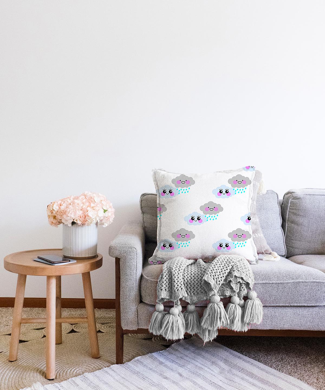 Çift Taraflı Real Homes Dijital Baskılı Dekoratif Şönil Yastık Kırlent Kılıfı - 55 x 55 cm Realhomes
