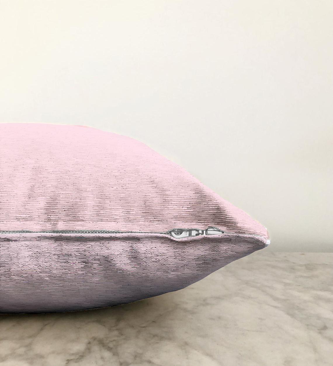 Realhomes Çift Taraflı Düz Açık Pembe Renkli Dijital Baskılı Şönil Yastık Kırlent Kılıfı - 55 x 55 cm Realhomes