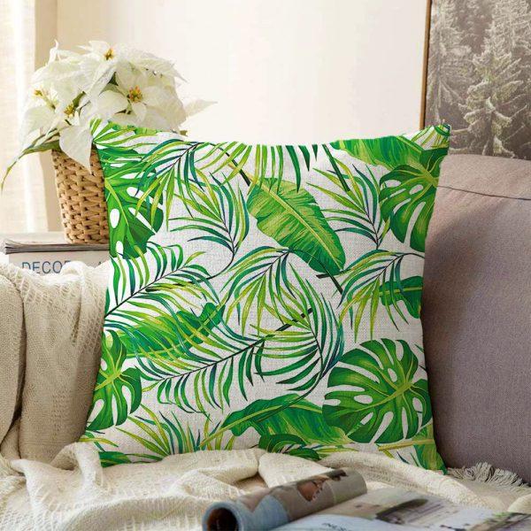 Çift Taraflı Beyaz Zeminde Yeşil Yapraklar Tasarımlı Modern Şönil Yastık Kırlent Kılıfı - 55 x 55 cm Realhomes
