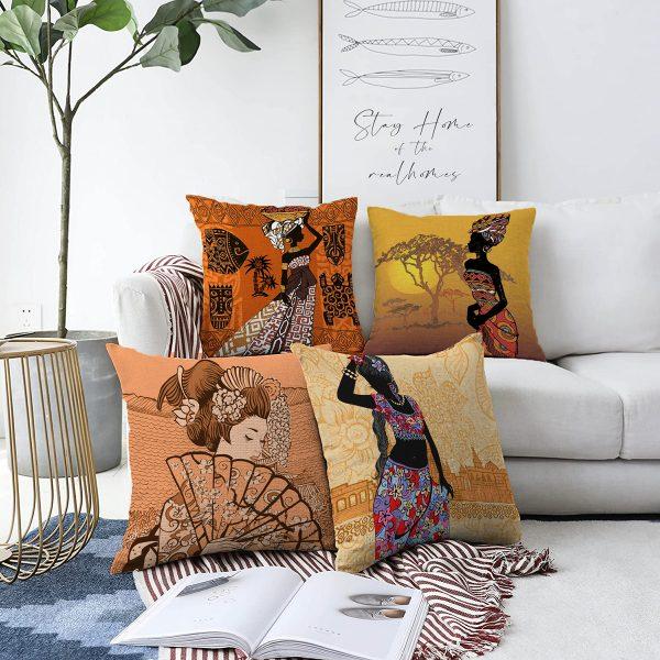 Çift Taraflı Etnik Afrika Women Desenli 4'Lü Şönil Kırlent Kılıf Seti - 55 x 55 cm Realhomes