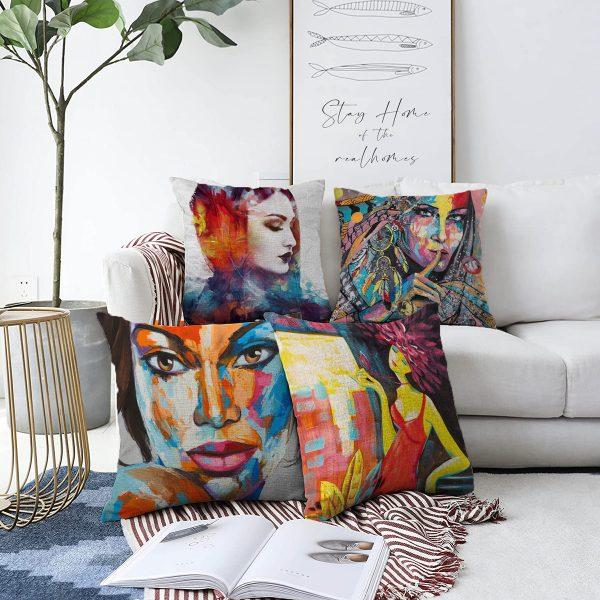 Çift Taraflı Soyut Sulu Boya Çizimli Fashion Girl Tasarımlı 4'Lü Şönil Kırlent Kılıf Seti - 55 x 55 cm Realhomes