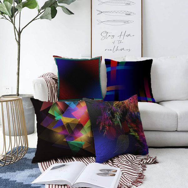 Çift Taraflı Renkli Geometrik Tasarımlı Modern 4'Lü Şönil Kırlent Kılıf Seti - 55 x 55 cm Realhomes