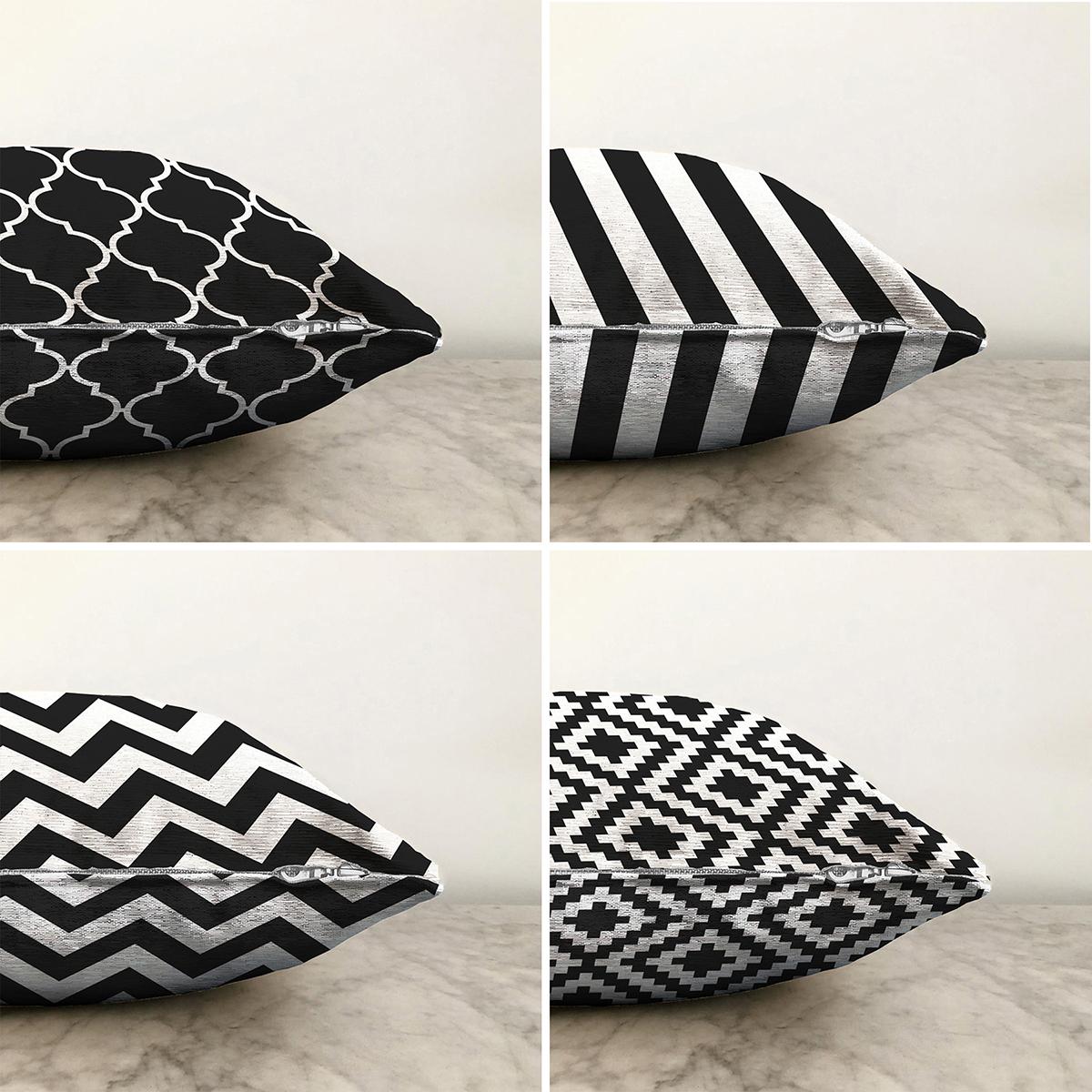 Realhomes Çift Taraflı Siyah Beyaz Geometrik Şekiller 4'lü Şönil Yastık Kırlent Kılıf Seti - 55 x 55 cm Realhomes