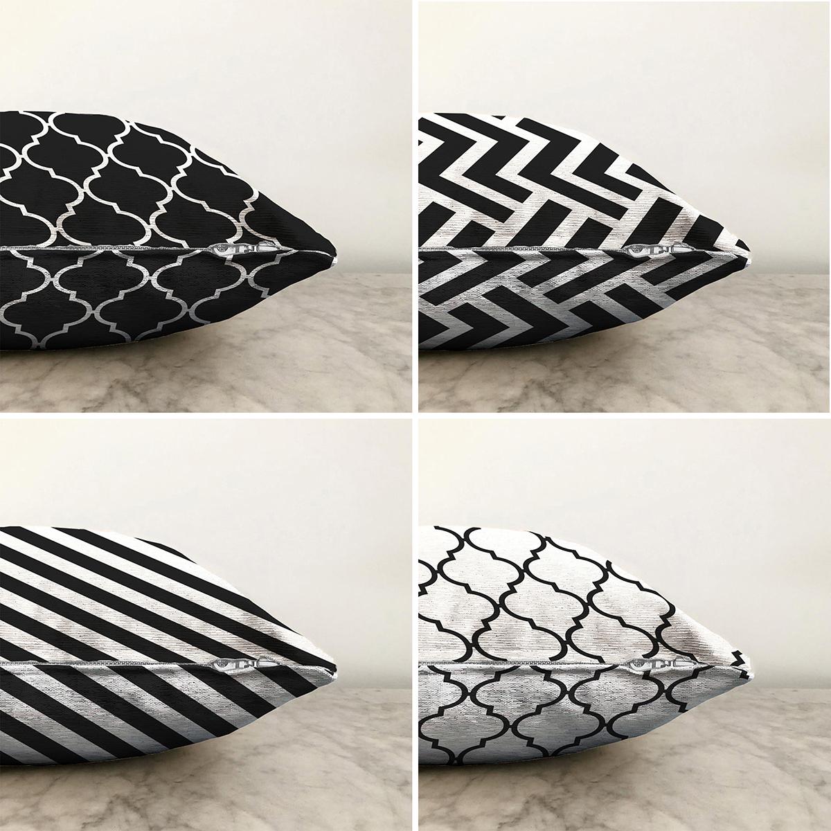 Dekoratif Zigzag Desenli Ogea 4'lü Çift Taraflı Şönil Yastık Kırlent Kılıf Seti - 55 x 55 cm Realhomes