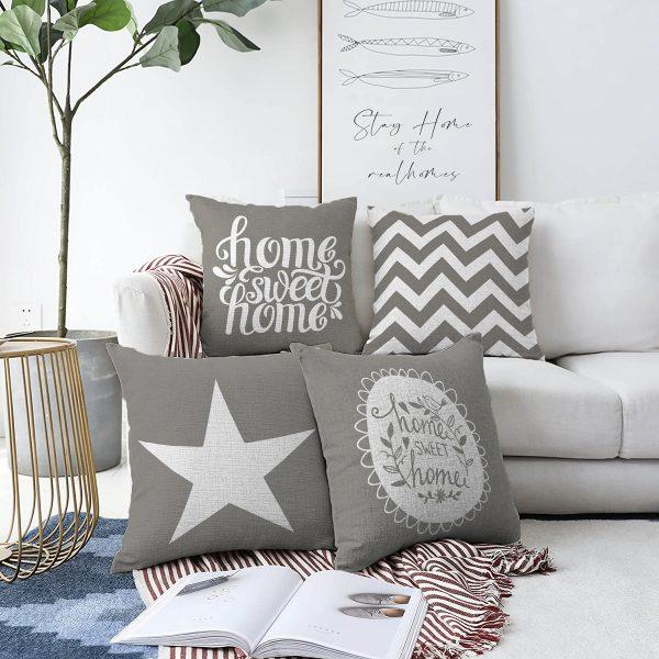 Gri Zemin Home Sweet 4'lü Çift Taraflı Şönil Yastık Kırlent Kılıf Seti - 55 x 55 cm Realhomes