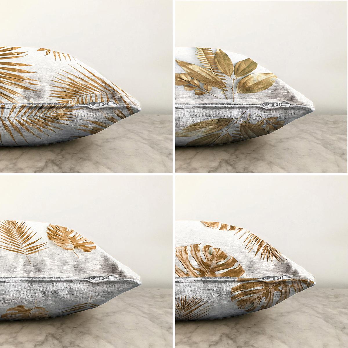 Altın Varaklı Yaprak Desenli 4'lü Çift Taraflı Şönil Yastık Kırlent Kılıf Seti - 55 x 55 cm Realhomes