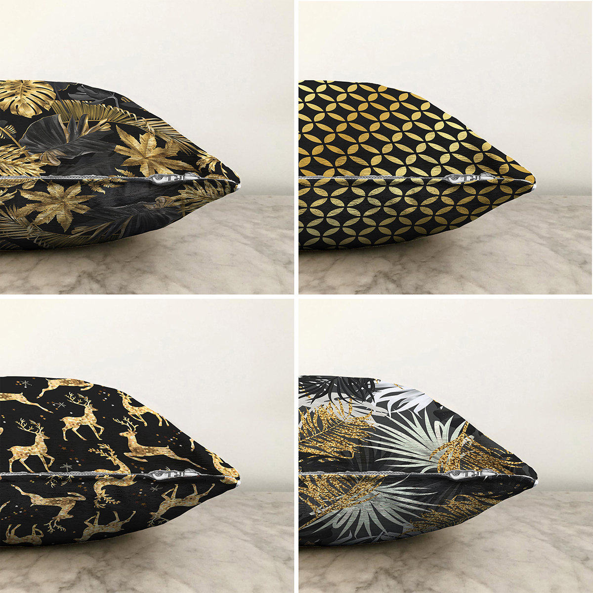 Siyah Zemin Altın Varaklı Dekoratif 4'lü Çift Taraflı Şönil Yastık Kırlent Kılıf Seti - 55 x 55 cm Realhomes