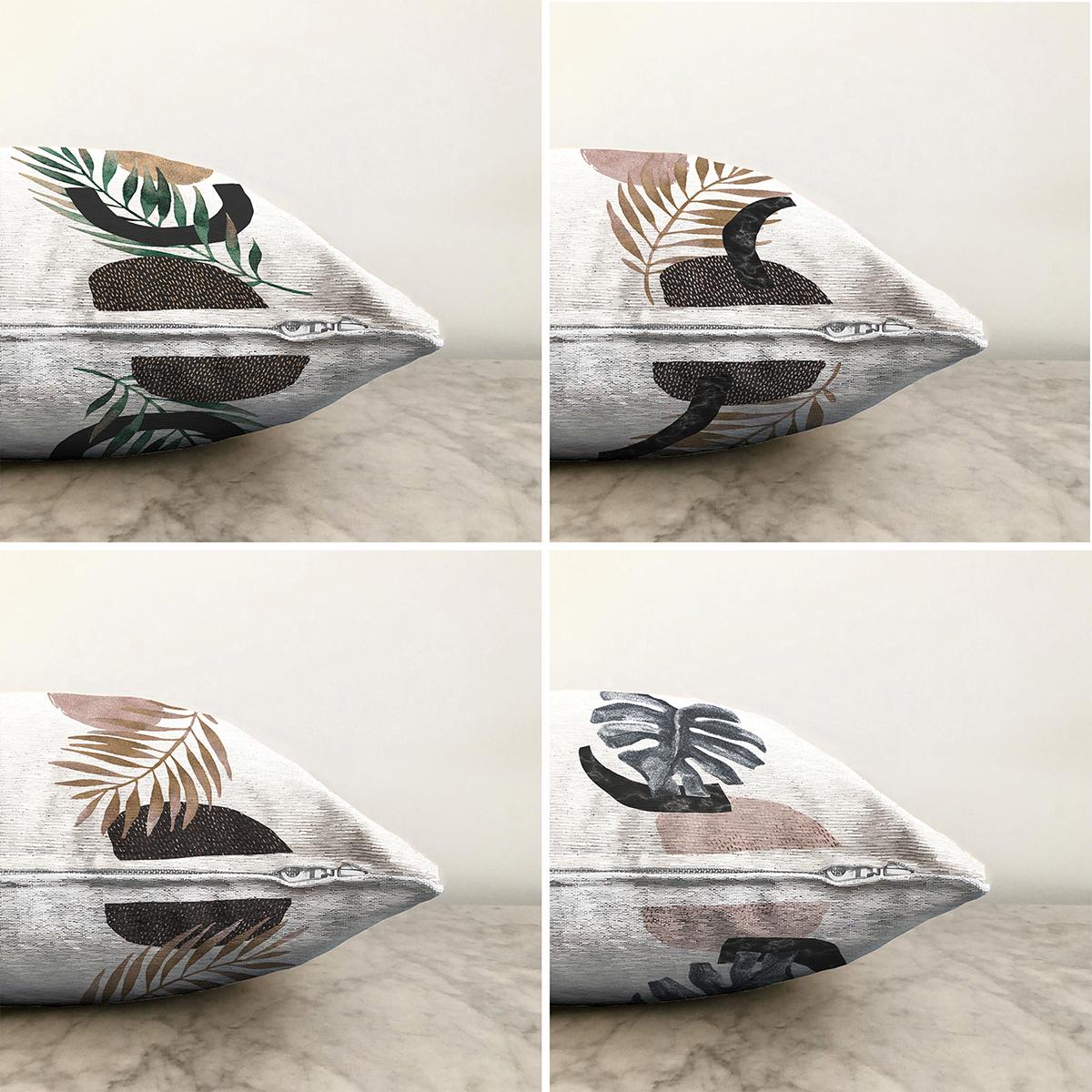 Beyaz Zeminde Gümüş Ve Gold Yaprak Tasarımlı Modern 4'lü Çift Taraflı Şönil Yastık Kırlent Kılıf Seti - 55 x 55 cm Realhomes