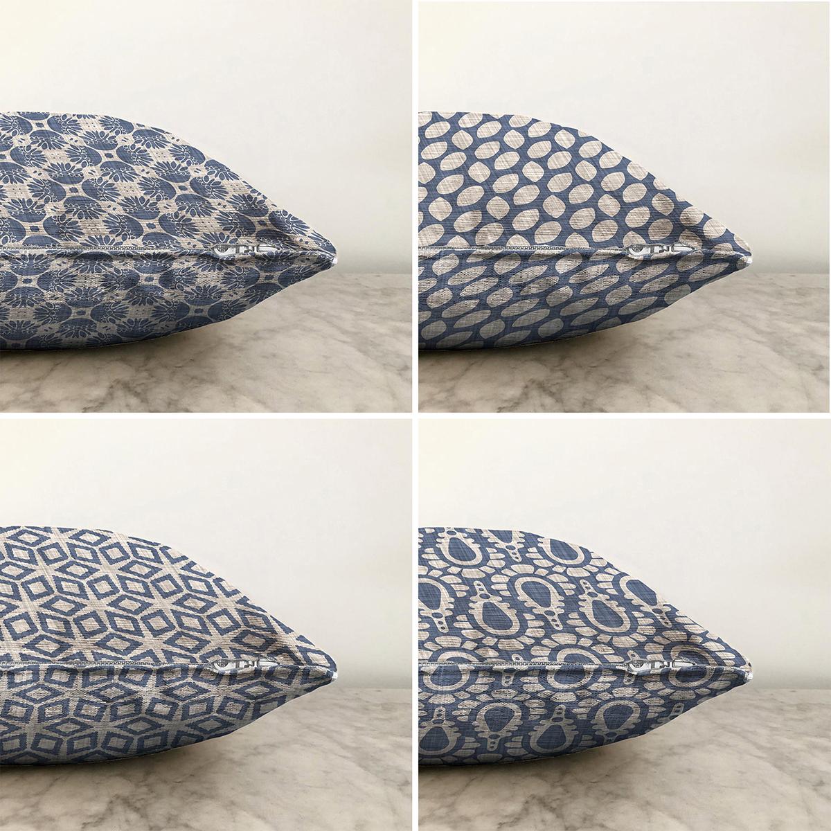 Kot Zemin Üzerinde Geometrik Şekiller Motifli 4'lü Çift Taraflı Şönil Yastık Kırlent Kılıf Seti - 55 x 55 cm Realhomes
