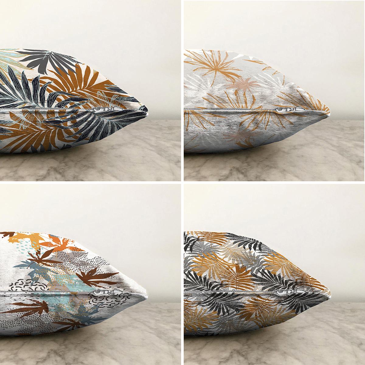Gold Tropik Yapraklı Dekoratif Dijital Baskılı 4'lü Çift Taraflı Şönil Yastık Kırlent Kılıf Seti - 55 x 55 cm Realhomes