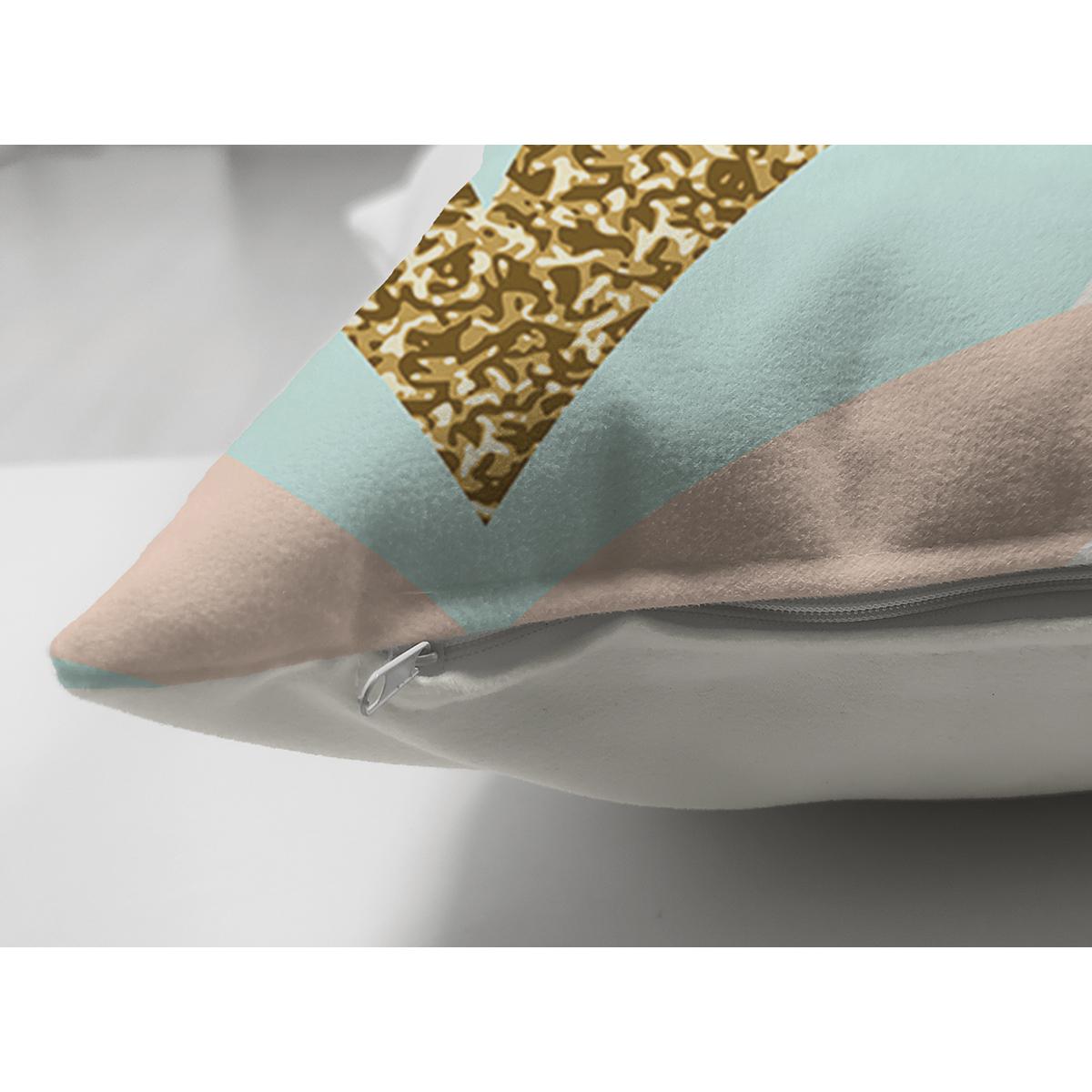 Çift Taraflı Açık Krem Zeminli Pembe Mavi Gold Yapraklar Dijital Baskılı Modern Süet Yastık Kılıfı Realhomes