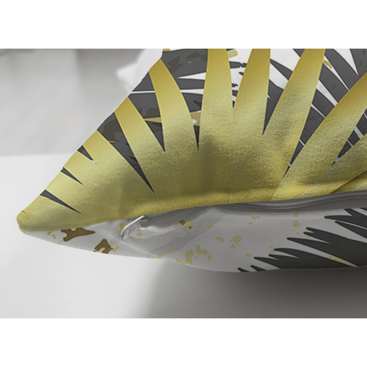 Çift Taraflı Mermer Zeminli Gold Ve Siyah Yapraklar Dijital Baskılı Modern Süet Kırlent Kılıfı Realhomes