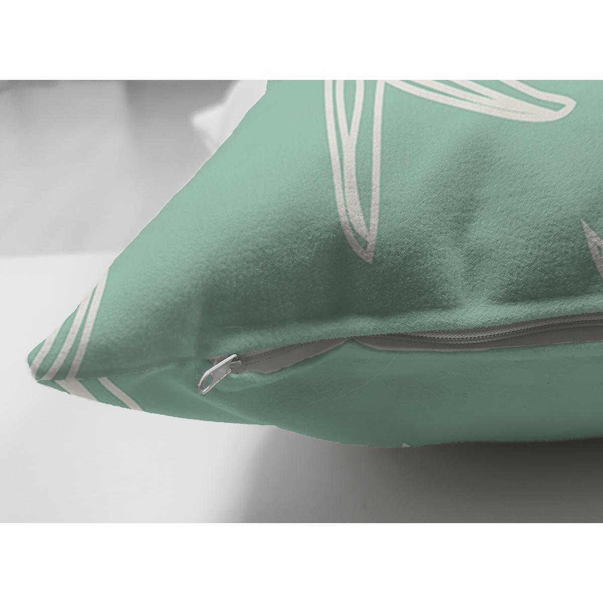 Çift Taraflı Yeşil Zeminde Krem Deniz Yıldızı Tasarımlı Dijital Baskılı Modern Süet Yastık Kılıfı Realhomes
