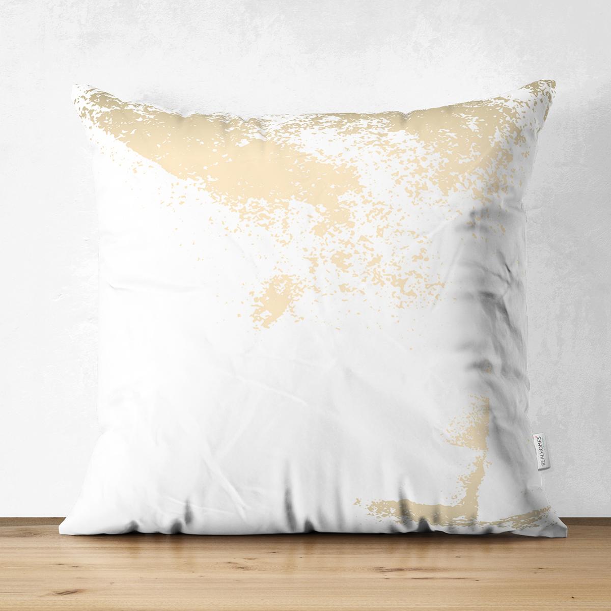 Çift Taraflı Beyaz Zeminde Gold Detaylı Dijital Baskılı Modern Süet Yastık Kırlent Kılıfı Realhomes
