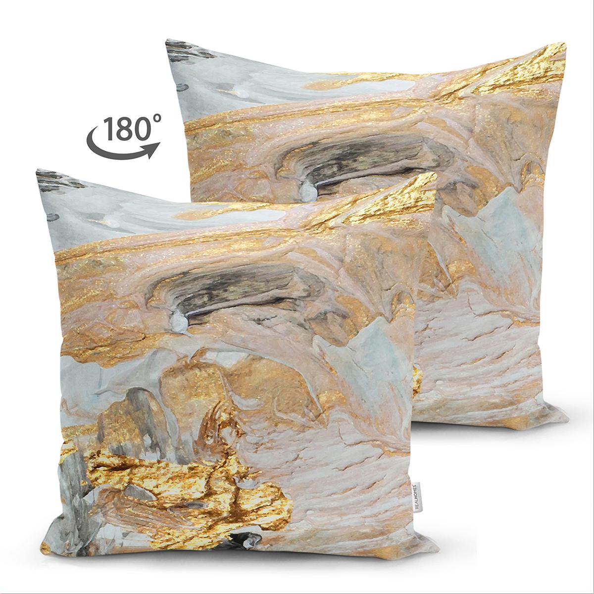 Çift Taraflı Gold Detaylı Soyut Çizimli Dijital Baskılı Modern Süet Yastık Kırlent Kılıfı Realhomes