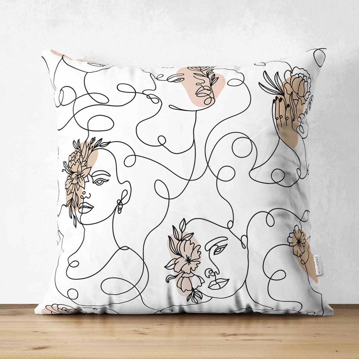 Çift Taraflı Beyaz Zemınde Bayan Desenli Dijital Baskılı Modern Süet Yastık Kırlent Kılıfı Realhomes