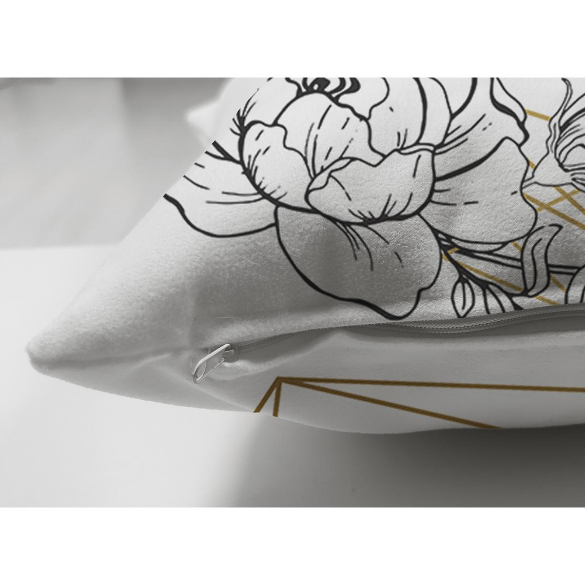 Çift Taraflı Beyaz Zeminde Gul Desenli Gold Detaylı Dijital Baskılı Modern Süet Kırlent Kılıfı Realhomes